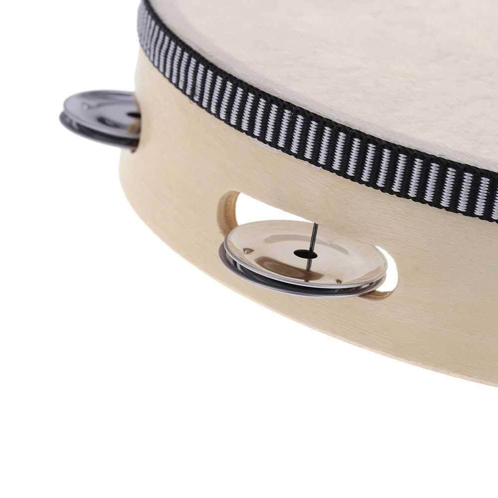 Best Selling 8inch Hand Held Tambourine Drum Bell Birch Metal Jingles Percussion Musical Educational Toy Instrument for KTV Party Kids Games (other)