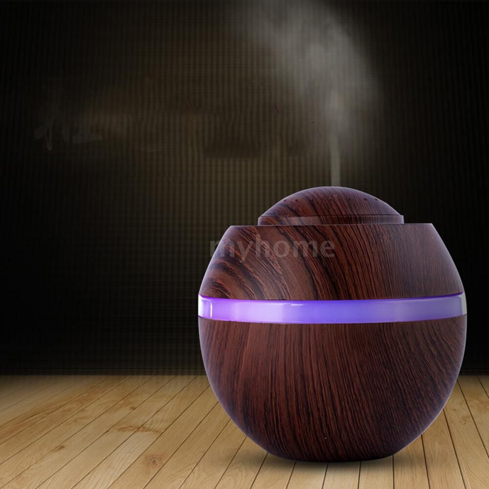 Humidifiers & Air Purifiers - MINI Air Humidifier USB AroEssential Oil Diffuser with 7 Color Changing LEDs Nighlight for Home - PINK / BLUE / LIGHT WOOD GRAIN / BROWN WOOD GRAIN