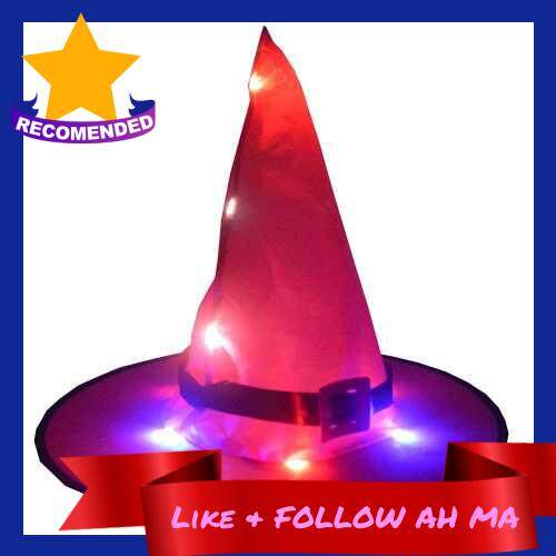 Best Selling Portable Lighting Hat Halloween Dress Up Hat Lightweight Decoration Luminous Witch Hat Rose Red With Buckle (Rose Red)