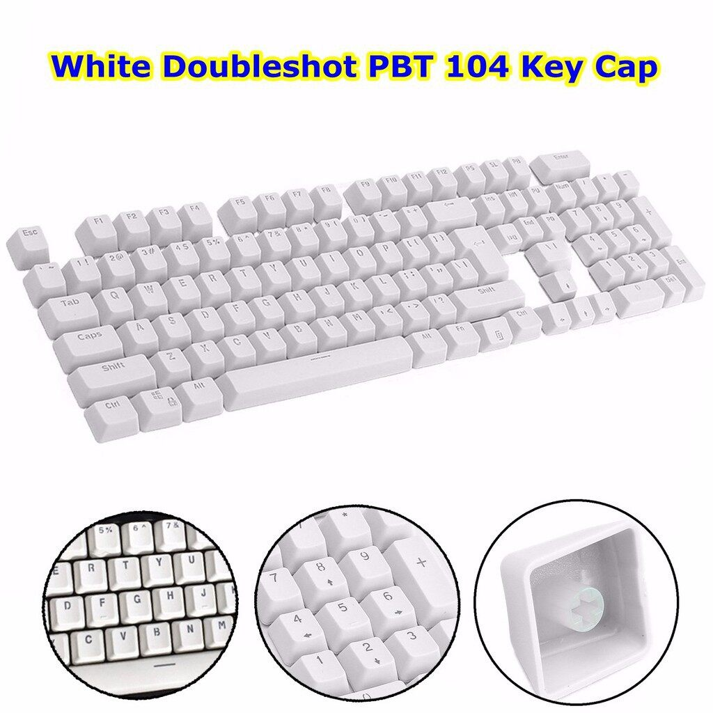 Cool Gadgets - White Doubleshot PBT Translucent 104 KeyCap backlit for Cherry MX Keyboard - Mobile & Accessories