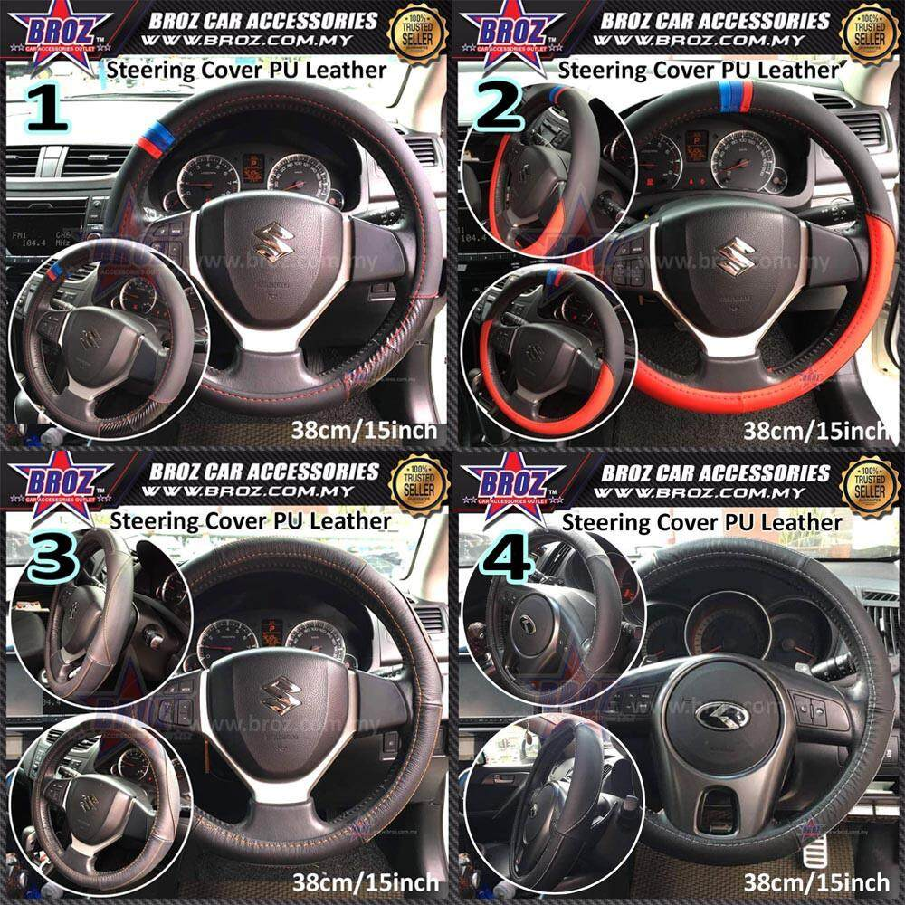 Universal PU Leather Steering Cover Blue Red White Black Orange lining Design
