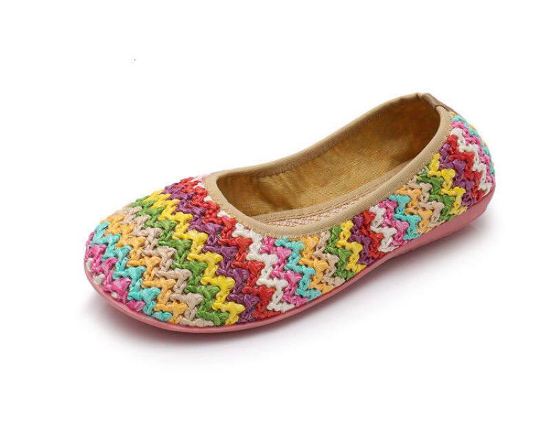 Mùa xuân mới và mùa hè cũ Bắc Kinh giày vải thở phào và đôi giày phẳng không rơi giày của phụ nữ... giày cầu vồng đôi giày duy nhất của phụ nữLKU giá rẻ