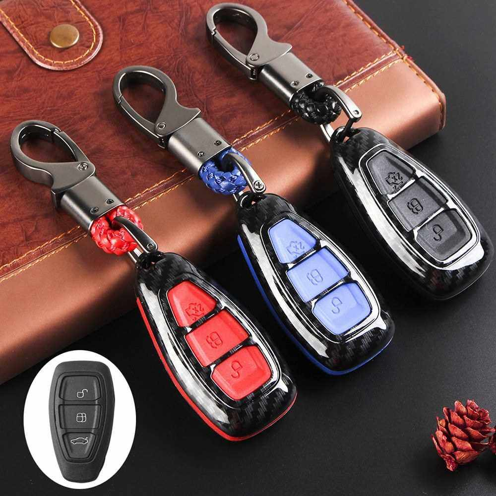 Best Selling Carbon Fiber Remote Key Fob Case Shell Cover for Fords/Fo-cus/Fiesta/Kuga/C-Max (Blue)