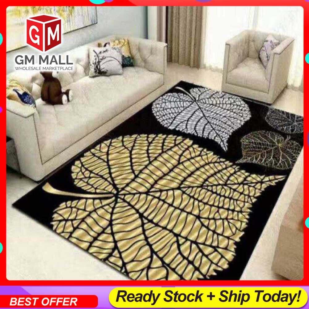 NEW DESIGN CARPET SIZE BESAR L/XL European Style Carpet Printed 3D Black 3 Big Leaves Mat Floor - Karpet Bercorak 3D Waterproof/Living Room/Bedroom Material Velvet (C-18)