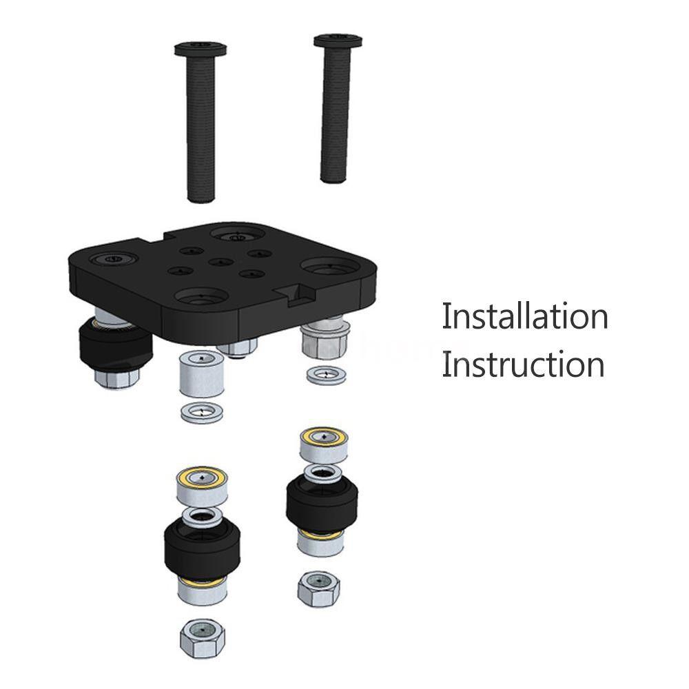 Printers & Projectors - MINI V Gantry Rod Plate with Wheel for V-slot Aluminum Profile 3D Printer Accessories Parts SET for - BLACK-WHITE WHEELS / BLACK-BLACK WHEELS