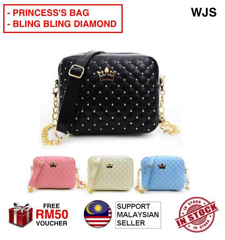 (BLIND BLIND DIAMOND) WJS Cute Princess Diamond Bag Fashion Women Shoulder Bag Satchel Crossbody Tote Handbag Hand Bag Beg Tangan Handbeg Purse Messenger Bag BLACK BLUE BEIGE PINK [FREE RM 50 VOUCHER]
