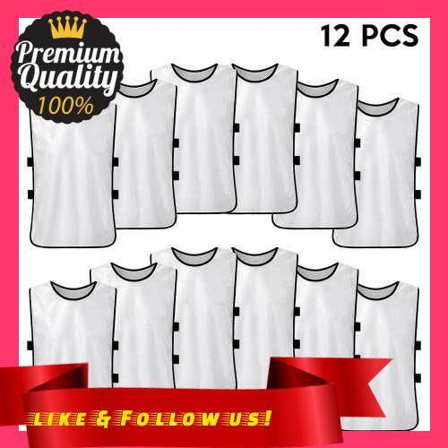 People\'s Choice 12 PCS Kid\'s Soccer Pinnies Quick Drying Football Jerseys Youth Sports Scrimmage Practice Sports Vest Team Training Bibs (White)
