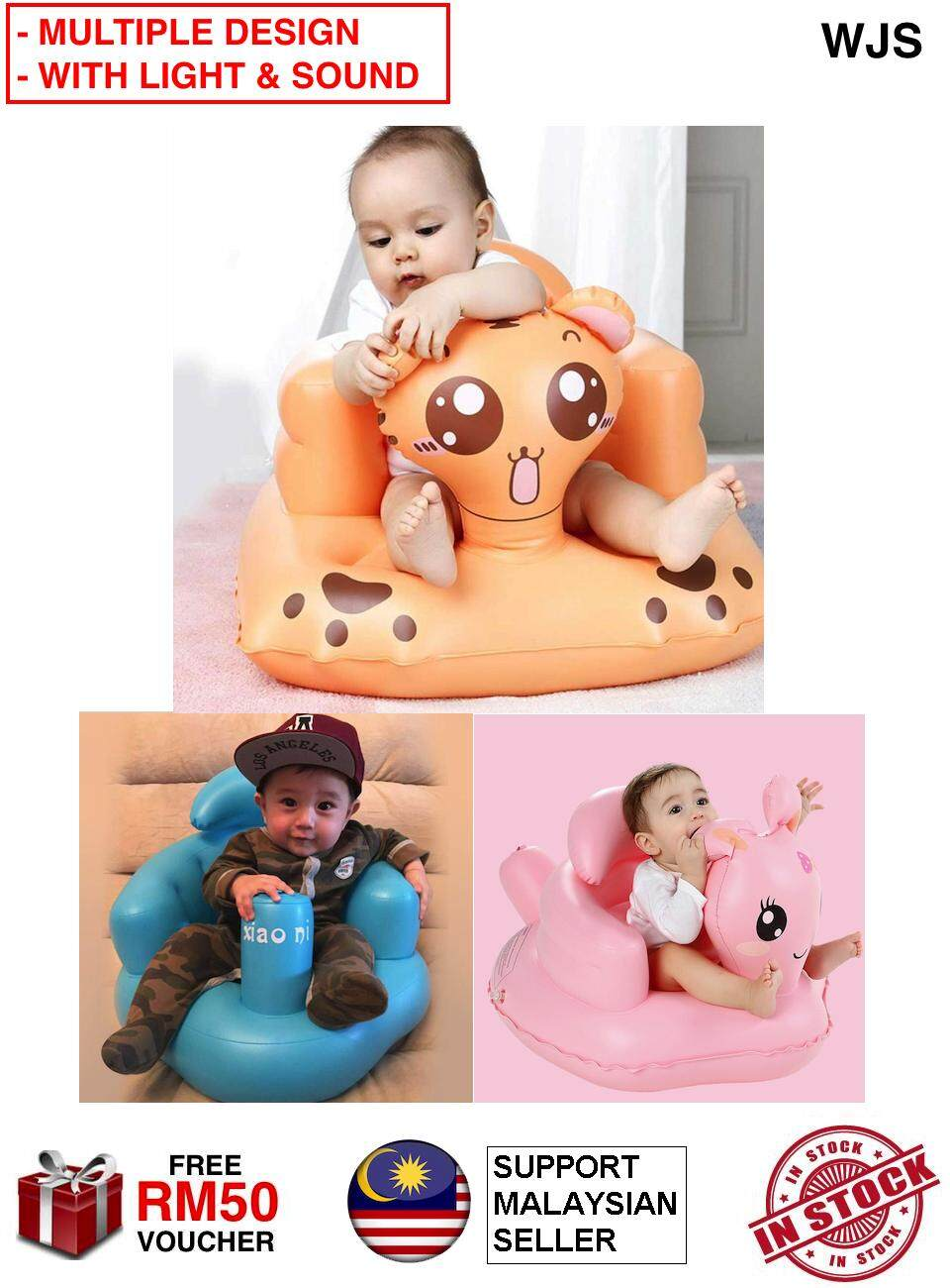 (MULTIPLE DESIGN & COLORS) WJS Baby Inflatable Sofa Chair Baby Sofa Baby Seat Baby Chair Dining Bathroom Children Toddler Learn Sitting Portable Seat Light and Sound OPTIONAL [FREE RM 50 VOUCHER]