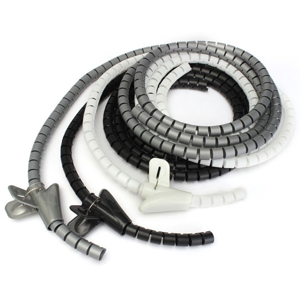 Mobile Cable & Chargers - 2m Cable Tidy Wire Organising Tool Kit Spiral Wrap Home Office Workshop Garage - GREY / BLACK / WHITE