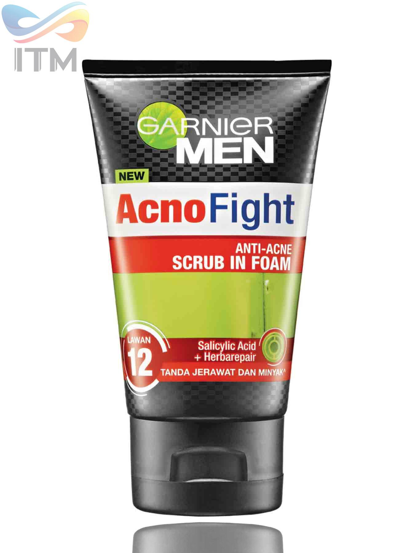 GARNIER MEN ACNO FIGHT 12 IN 1 ANTI-ACNE SCRUB IN FOAM 100ML