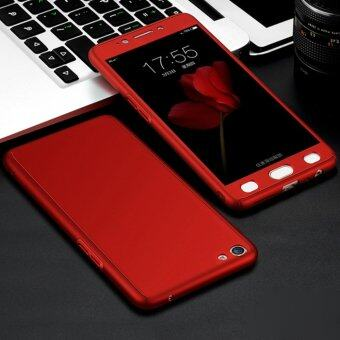Harga 360 Degree Full Body Protection Cover Case With Tempered Glass forOppo A57 (Red)
