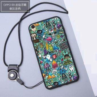 3D Relief Silica Gel Soft Phone Case for 5.5 inch OPPO F1 Plus with a Rope