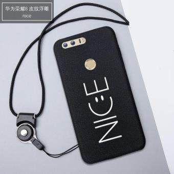 3D Relief Silica Gel Soft Phone Case for Huawei Honor 8 with a Rope ( Multicolor