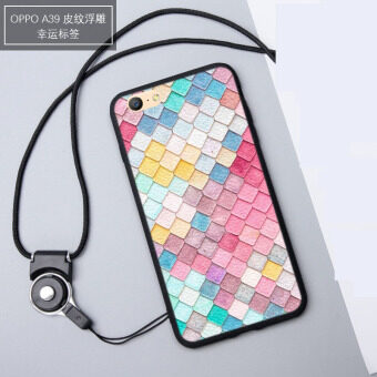3D Relief Silica Gel Soft Phone Case for OPPO A57/OPPO A39 with a Rope