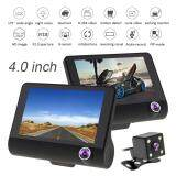 4.0 Inch IPS Screen Full HD 1080P 3-CH Car Recorder DVR Dash Camera G-Sensor Cyclic Recording with Night Vision Rear View Camera (Suitable For Grab Car & Uber)