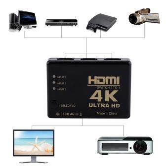 Harga 4K Ultra HD 1080P 3 Port HDMI Switch Switcher Amplifier SelectorSplitter Hub for HDTV