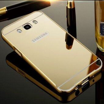 Aluminum Mirror Metal Bumper Case Cover for Samsung Galaxy J3 2016 (Gold)