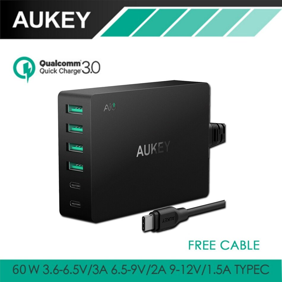 AUKEY Quick Charge 3.0 USB Charger with 60W Dual USB C & 4 USB Ports