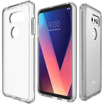 For LG V30 PC + TPU Chrome Plated Press Button Transparent Protective Back Cover Case(