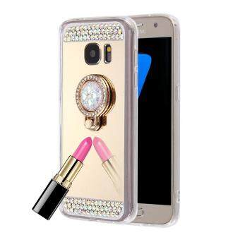 For Samsung Galaxy S7 Edge / G935 Diamond Encrusted Electroplating Mirror Protective Cover Case with Hidden