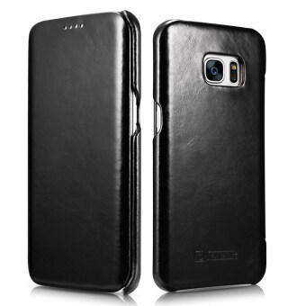 Harga ICARER Ultra Slim Vintage Genuine Leather Case Flip FolioProtective Cover for Samsung Galaxy S7 Edge (Black)