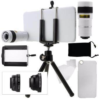 Harga AFAITH iPhone 6 Plus Camera Lens Kit including an 8x Telephoto Lens / Fisheye Lens / 2 in 1 Macro Lens and Wide Angle Lens / Mini Tripod / Universal Phone Holder / Hard Case for Apple iPhone 6 Plus / Velvet Phone Bag / Microfiber Cleaning Cloth