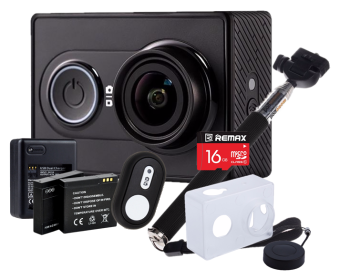 Harga [INTERNATIONAL] Xiaomi Xiaoyi Yi Sport Action Camera Full HD Wifi Video Cam Recorder YiCam GoPro Super Jimat Package - Black