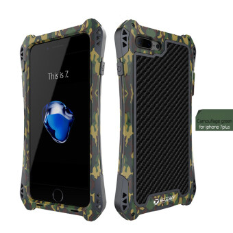 Harga R-just AMIRA Waterproof Carbon Fiber Aluminum Armor Case Cover For IPhone 7Plus (Camouflage Green)