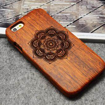 Harga LYBALL 100% Natural Wooden Wood Bamboo Phone Case Cover For Apple iPhone 6 6s Bloom