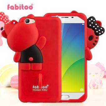 Harga For OPPO R9S plus 3D Cute Cartoon Original Fabitoo Hello Kitty bowknot Phone Case Soft Silicone Back Cover With Lanyard