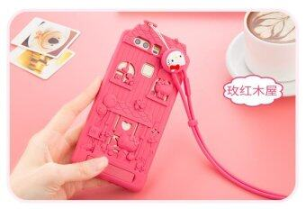 Harga For Huawei P9 Plus 3D Cute Cartoon Fabitoo Hello Kitty Phone Case Soft Silicone Back Cover With Lanyard Stand Holder - Int'l