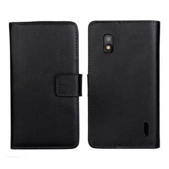 Harga Genuine Leather Wallet Case Cover for LG Nexus 4 (Black)