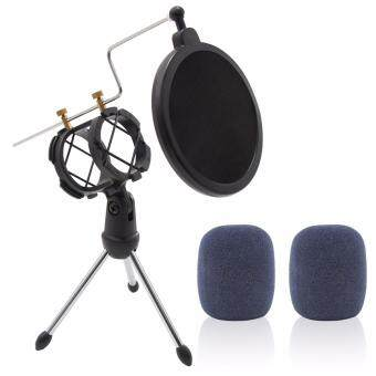 Harga Xcellent Global Foldable Desktop Microphone Tripod Stand with Pop Shield Dual Filter, Shock Mount Mic Holder, 2 Bonus Foam Covers CA042