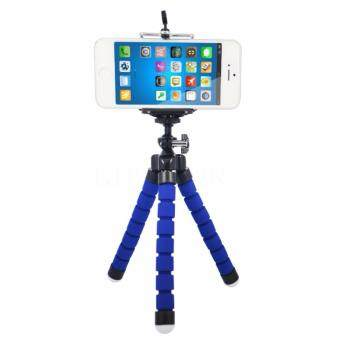Harga [FREE PHONE HOLDER] New Portable Phone Tripod Camera Holder Tripod Flexible Octopus Tripod Bracket Stand Mount Monopod For Phone & Camera (Blue)