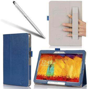 Harga Samsung Galaxy Tab Pro 10.1 Case - Leather Book (Elastic Hand Strap, Multi-Angle, Card Holder) for SM-T520/525 With Bonus Stylus One Year Warranty (Blue)