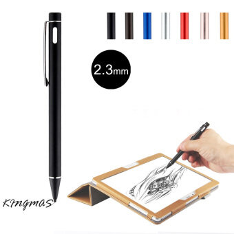 Harga High-precision 2.3mm Active Chargeable Capacitive Touch Pen Stylus for iOS Android Microsoft Tablets PAD touch screen devices-Black
