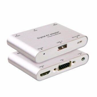 Harga LYBALL Digital AV Adapter Converter Micro USB to HDMI + VGA + Audio Dual Display Full HD 1080P Power by EZCast Support IOS Android Window MacBook for iPad iPhone 6 7 Smartphone Tablet Laptop Silver