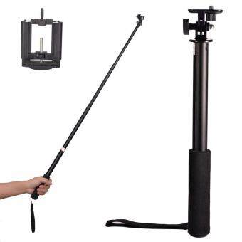 "Harga 39"" 3-Way Telescopic Handheld Monopod Self-portrait Pole Events/ Sports/ Selfie Stick Extender + Upgraded Smartphone Holder Mount, for Most Cell Phones, Digital Cameras, GoPro HD Hero 5 4 3+ 3 2, sj4000 sj6000, sj7000 Sports Camera"