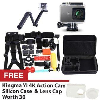 Harga Kingma Sport ActionSports Camera Waterproof Case 40m White for Xiaomi Yi Xiaoyi 4K + 3-Way Expendable Monopod + 30 in 1 Bundle Accessories Head Chest Mount Floating Grip Converter Bag + FREE Silicon Case Cover Black + Lens Cap White