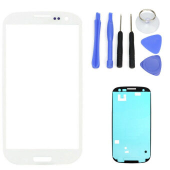 Harga For Samsung Galaxy S3 SIII I9300 I9305 White LCD Front Touch Screen Glass Outer Lens 4.8'' +Tools+Adhesive