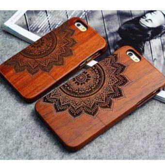 Harga LYBALL 100% Natural Wooden Wood Bamboo Phone Case Cover For Apple iPhone 6 6s Half Flower
