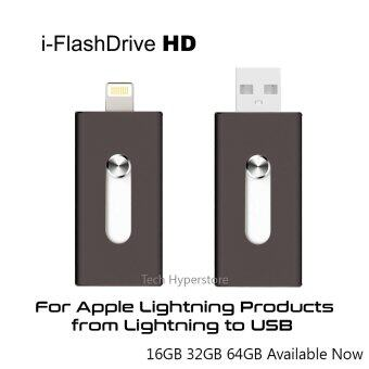 Harga i-FlashDrive HD Portable 16GB OTG Drive for Apple iPhone Lightning to USB with 2 in 1 Connector (Black)