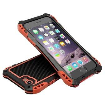 Harga R-JUST AMIRA Metal and Carbon Fiber Powerful Shockproof Phone Case for iPhone 5 / 5s / SE ( Red Black)