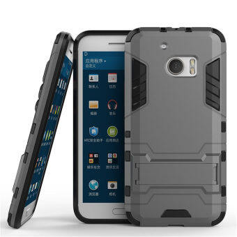 Harga HTC 10 Case, HTC One M10 Case, SATURCASE Hybrid 2 In 1 [PC & Silicone] Dual-Layer Bumper Case Cover with Kickstand for HTC 10 / HTC One M10 Gray