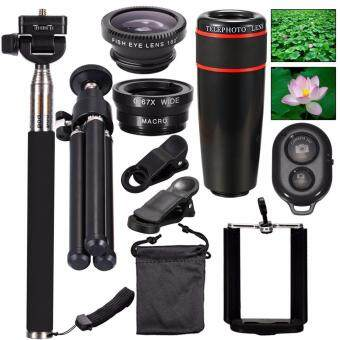 Harga AFAITH 10-in-1 Lens Kit 8x Telephoto Telescope Lens + Fish Eye Lens + Wide Angle/Macro Lens + Selfie Stick Monpod+ Mini Tripod For iPhone 7 /iPhone 7 Plus / iPhone 6 / 6s, Samsung Galaxy S8 / S7 edge/ S6/ S6 egde, Huaiwei P10/P9/P8, HTC, Xiaomi Cellphones