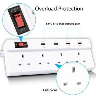 Harga Jabriel Lightning protection function Power Strip 4 Way Outlet 4 USB Ports Extension Lead Power Strip Surge Protector USB Charger Power Socket with 5.9ft Power Cord USB Charging Port Support iPad iPod Smart Phones