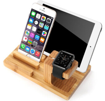 Harga LYBALL 3-in-1 100% Wooden Desk Stand Holder Charge Dock Station Laptop Stands For Apple Watch iPhone 5 6 6S iPod iPad