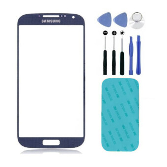 Harga Replacement Blue Front Screen Glass Lens for Samsung Galaxy S4 i9500 + Tool + 3M Replacement Part