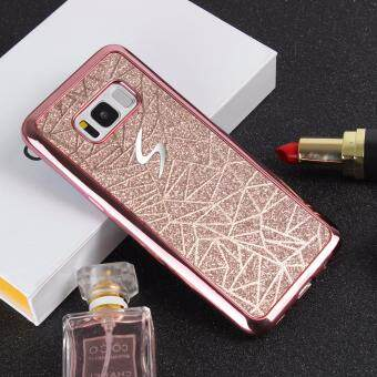 Harga Shockproof Bling 3D Electroplated Bumper Water Cube Pattern Soft TPU Case for Samsung Galaxy S8 Plus(Rose Gold)