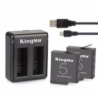 Harga (Set) Kingma GoPro Hero 5 Dual Battery Charger + 2 pcs 1220mAh GoPro Battery Set